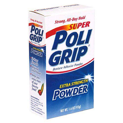 Secure Denture Adhesive >> Super Poligrip Extra Strength Powder for Dentures at Smilox.com